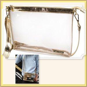 🆕LRG Clear Gold V Leather Clutch Cross-body NWT